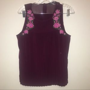American Eagle Outfitters pleated embroidered tank